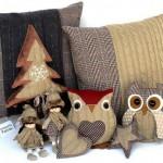 Cojines, pino navidad, muñecos, buhos y artículos para decoración navideña.